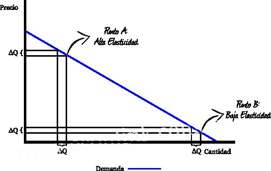 distintos valores de la elasticidad en una misma curva de demanda