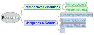 economía: perspectivas analíticas: macroeconomía y<br /> microeconomía; disciplinas: economía internacional, economía laboral, finanzas públicas, etc..